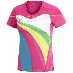 Craft 女性短袖圓領排汗衣-1900632 (桃紅彩印S、XL號/五折出清/運費另計)