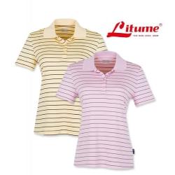Litume意都美 CP369 女款 Coolmax 排汗休閒條紋POLO衫-黃條紋色