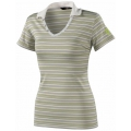 Millet LD Stripes Polo 女性POLO短袖條紋排汗衫--灰綠 L號 #MIV3701-2318 /零碼五折出清