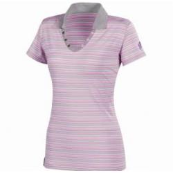 Millet LD Stripes Polo 女性POLO短袖條紋排汗衫--紫色 L號 #MIV3701-5394/零碼3折出清