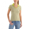 Millet LD Stripes Polo 女性POLO短袖條紋排汗衫--螢光綠 #MIV3701-5396/過季五折出清