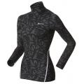 ODLO #150381 Warm TURTLE NECK  女款機能保暖型花紋半門襟長袖排汗衣(L號 黑色)