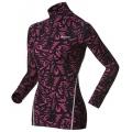 ODLO #150381 Warm TURTLE NECK  女款機能保暖型花紋半門襟長袖排汗衣(L號 紫黑色)