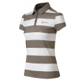 ODLO #524931 Polo shirt stripes EASY 女性銀離子條紋抗UV短袖POLO衫--淺咖色XL號/零碼七折出清