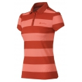 ODLO #524931 Polo shirt stripes EASY 女性銀離子條紋抗UV短袖POLO衫(紅色XL號 七折出清)