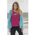 Wildland荒野 女款仿棉印花圓領上衣 0A21609-21 紫紅-XL號